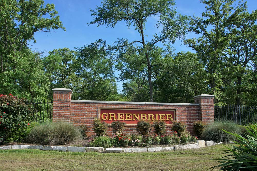 image of greenbrier neighborhood sign in college station - judy sweat - college station real estate
